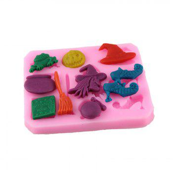 Silicone Witch Over Embossing Cake Sugar Mold - PINK PINK