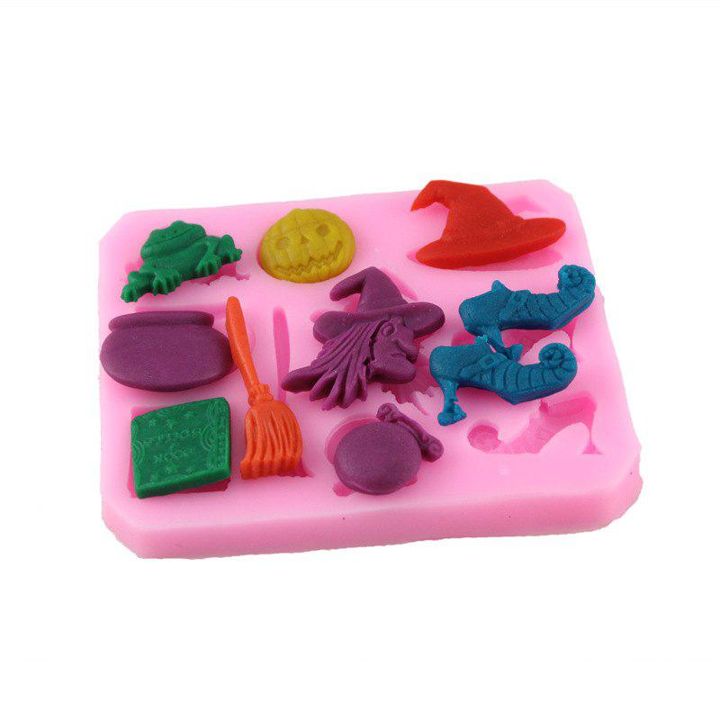 Silicone Witch Over Embossing Cake Sugar Mold - PINK