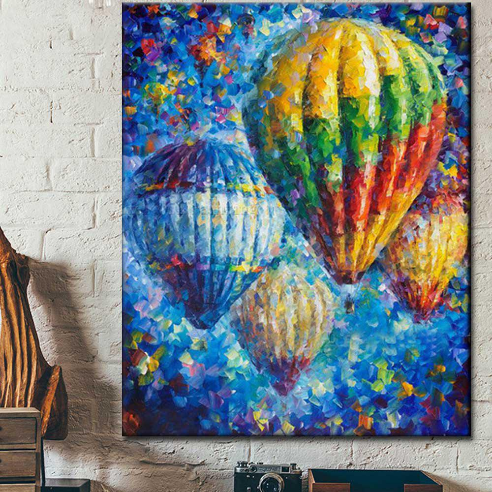 Hand painted Abstract Palette Knife Oil Painting on Canvas Hot Air Balloon Wall Picture Living Room Home Wall Decor - COLORMIX 24 X 36 INCH (60CM X 90CM)
