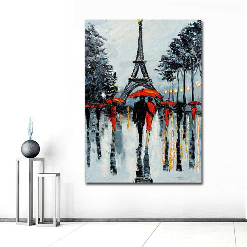 Hand Painted Abstract Eiffel Tower Rainy Lanscape Oil Painting on Canvas Living Room Home Wall Decor - GREY 24 X 36 INCH (60CM X 90CM)
