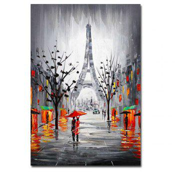 Hand Painted Abstract Effiel Landscape Oil Painting on Canvas Lover in Rainy Streetscpe Wall Picture Painting No Framed - GREY GREY