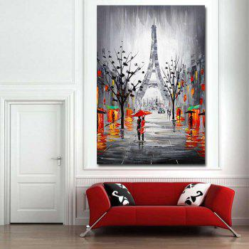 Hand Painted Abstract Effiel Landscape Oil Painting on Canvas Lover in Rainy Streetscpe Wall Picture Painting No Framed - GREY 24 X 36 INCH (60CM X 90CM)