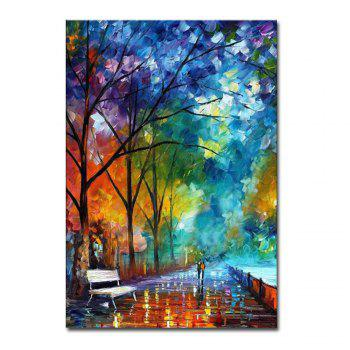 Hand Painted Abstract Palette Knife Streetscape Oil Pianting Lover Walk on Street Wall Pciture Frameless Canvas Painting - COOK COOK
