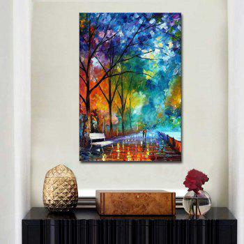 Hand Painted Abstract Palette Knife Streetscape Oil Pianting Lover Walk on Street Wall Pciture Frameless Canvas Painting - COOK 24 X 36 INCH (60CM X 90CM)