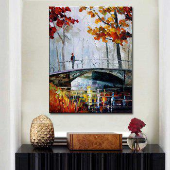 Hand Painted Abstract Palette Knife Bridge Landscape Oil Painting on Canvas Bridge Wall Picture Home Wall Decor - COLORMIX 24 X 36 INCH (60CM X 90CM)