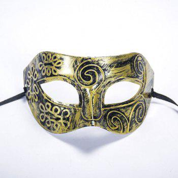 Ancient Roman Ball Mask Halloween Gold Silver Bronze Mask Classic Man Half Face Flat Carved PVC - GOLDEN GOLDEN