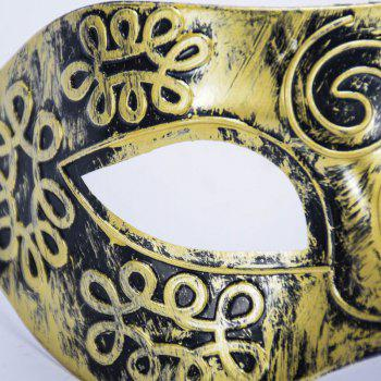 Ancient Roman Ball Mask Halloween Gold Silver Bronze Mask Classic Man Half Face Flat Carved PVC - GOLDEN