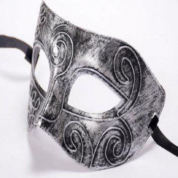 Ancient Roman Ball Mask Halloween Gold Silver Bronze Mask Classic Man Half Face Flat Carved PVC - SILVER