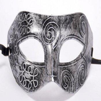 Ancient Roman Ball Mask Halloween Gold Silver Bronze Mask Classic Man Half Face Flat Carved PVC - SILVER SILVER