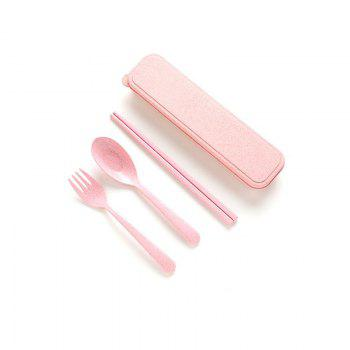 Dinnerware Set Handmade Dinner Fork Cutlery for Kids Kitchen Picnic Tableware - PINK PINK