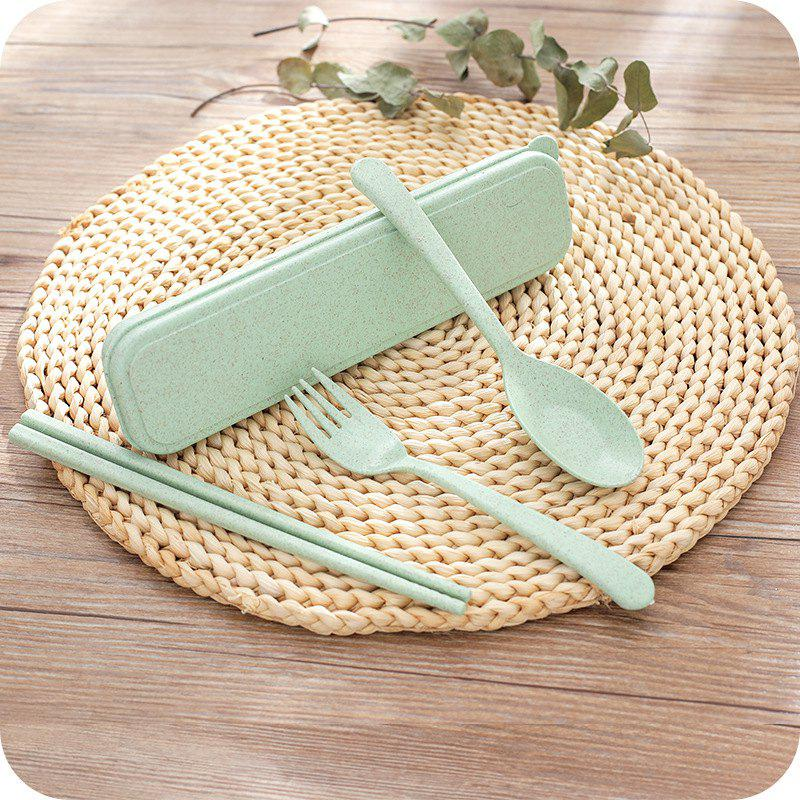 Dinnerware Set Handmade Dinner Fork Cutlery for Kids Kitchen Picnic Tableware - GREEN