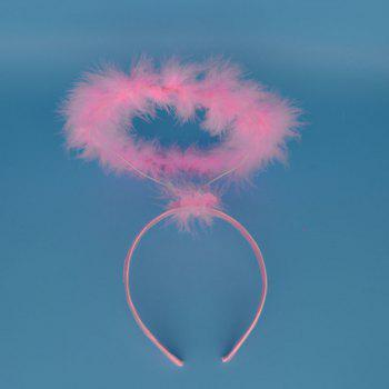 Novelty Pink White Feather Angel Halo Ring Headband For Kids Adults Girls Princess Party Dress Decor New Year - PINK PINK