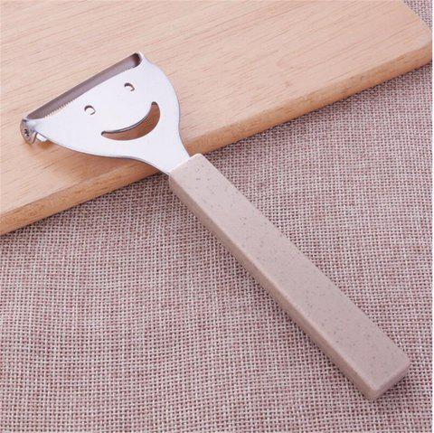 Cute Mini Stainless Steel Fruit Vegetable Potato Peeler Smiling Face Slicer Cutter Kitchen Accessories Tools - BEIGE
