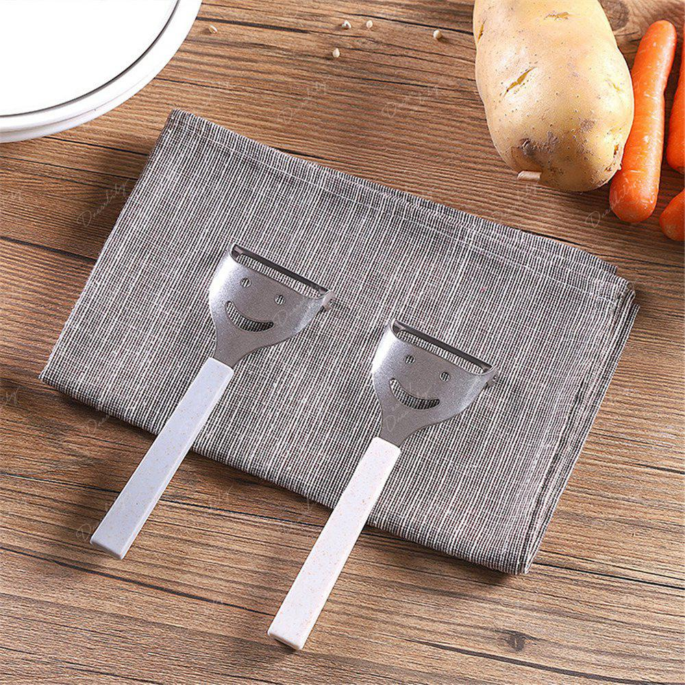 Cute Mini Stainless Steel Fruit Vegetable Potato Peeler Smiling Face Slicer Cutter Kitchen Accessories Tools - BLUE