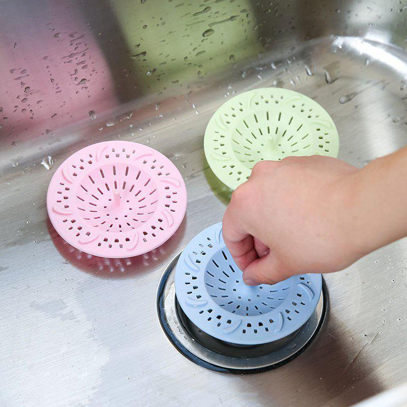 Creative Multifunction Portable Kitchen Bathroom Floor Silicone Hair Sink Filter Sewer Outfall Drain Cover - BLUE