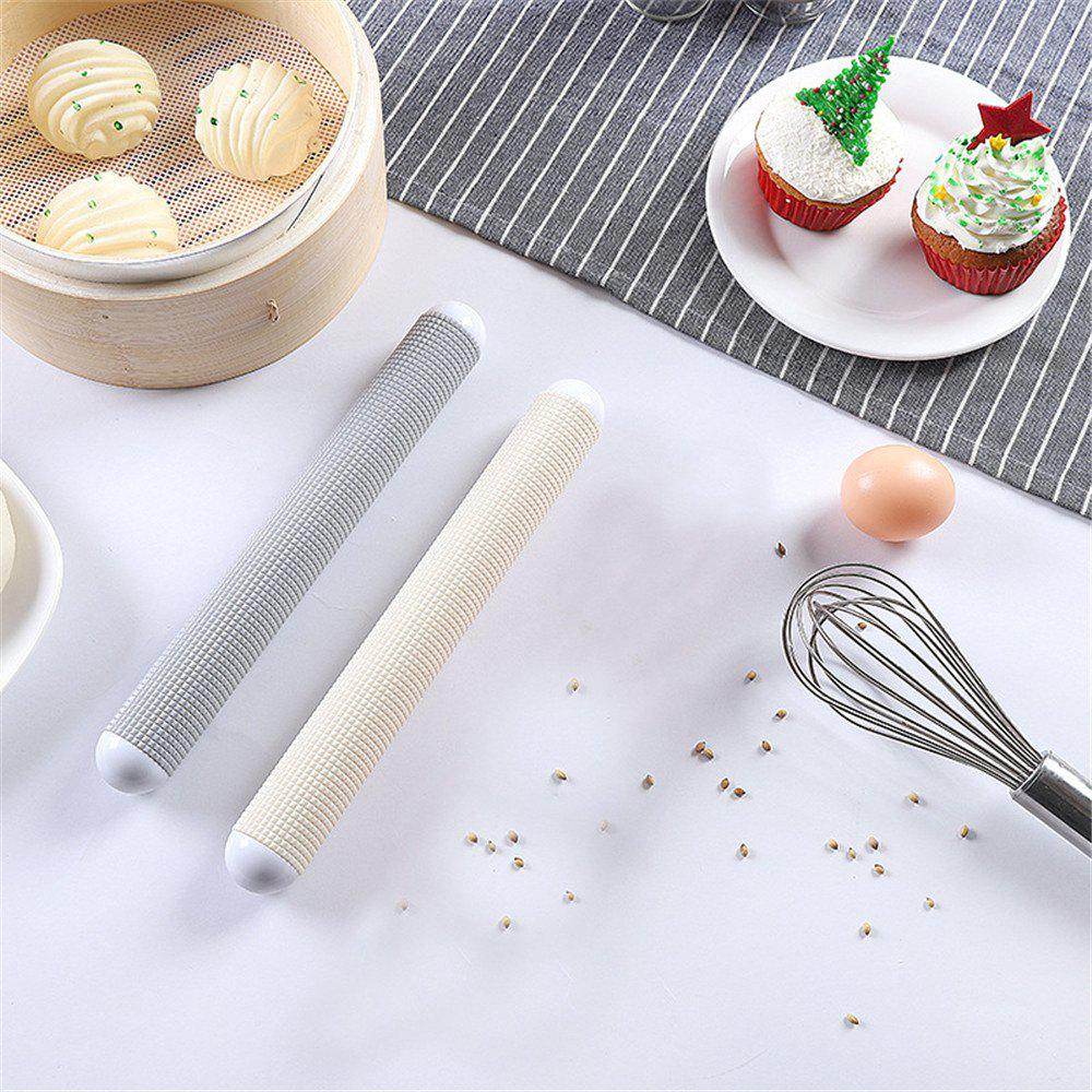 Non-Stick Kitchen Pattern Rolling Pin Fondant Embossed Roller Mold Cake Decorating Tools Baking Accessories - BLUE