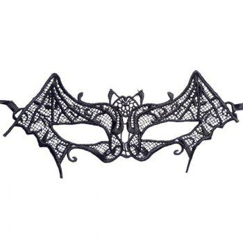 2018 New Arrival Masquerade Bat Shape Lace Mask Halloween Black Sexy Cutout Prom Party Mask Accessories - BLACK
