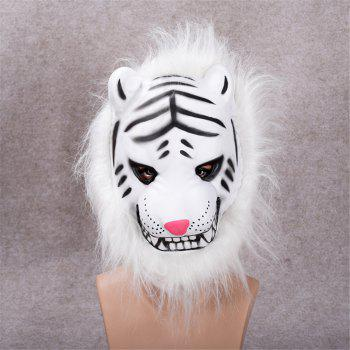 Mane Latex Mask Creepy Animal Tiger/Lion/Monkey/ Partern Full Face Halloween Costume - WHITE WHITE