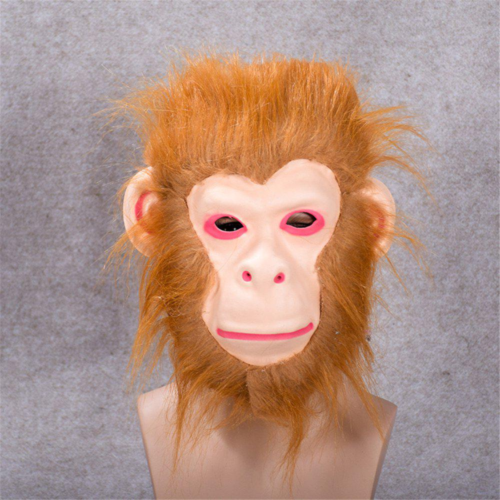 Mane Latex Mask Creepy Animal Tiger/Lion/Monkey/ Partern Full Face Halloween Costume - BROWN