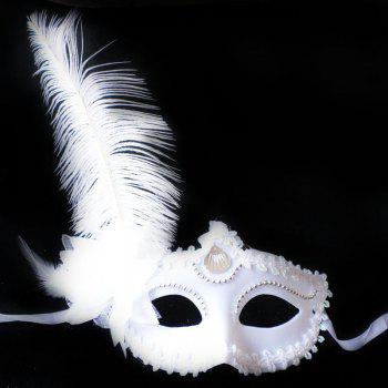 Masquerade Feather Mask Halloween Cutout Prom Party Mask Accessories Ostrich Princess Mask - BLACK