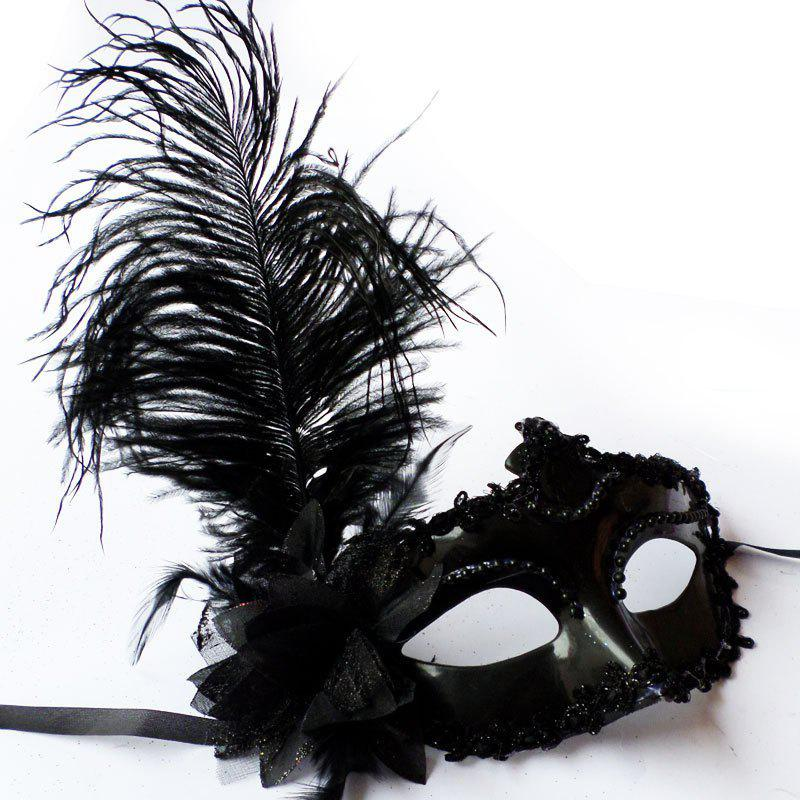 Masquerade Feather Mask Halloween Cutout Prom Party Mask Accessories Ostrich Princess Mask - WHITE
