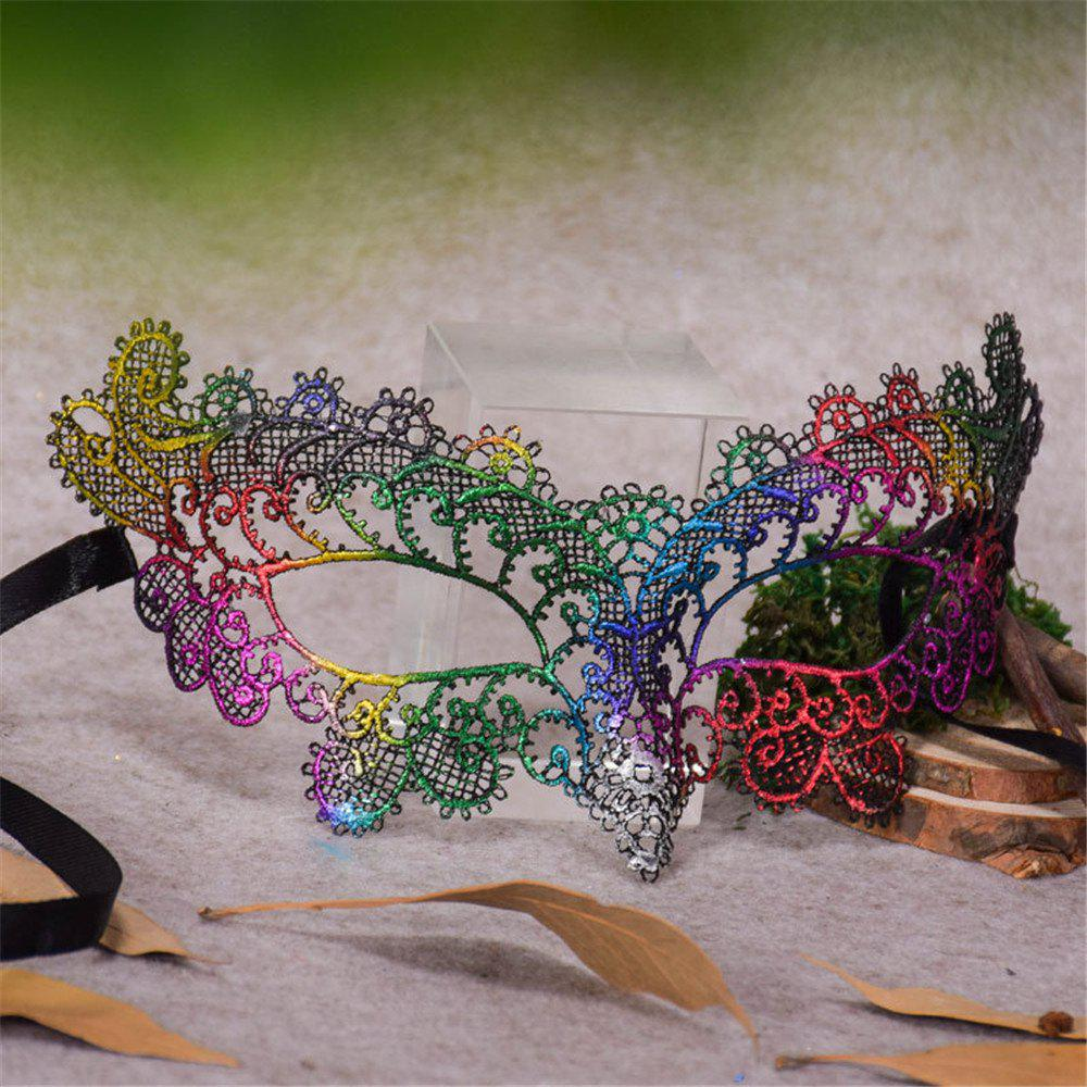Sexy Halloween Colorful Lace Goggles Nightclub Fashion Queen Female Sex Eye Masks for Masquerade Party Ball Mask - COLOUR