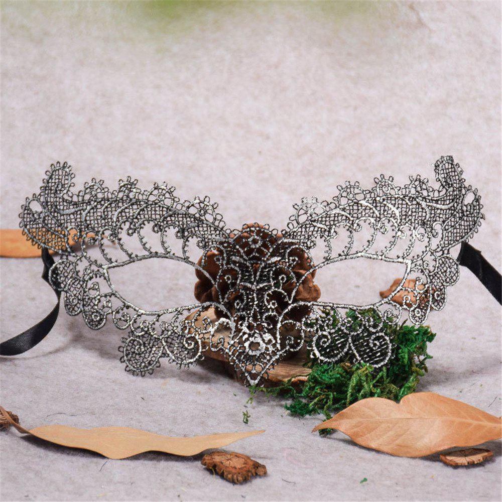 Sexy Halloween Colorful Lace Goggles Nightclub Fashion Queen Female Sex Eye Masks for Masquerade Party Ball Mask - SILVER