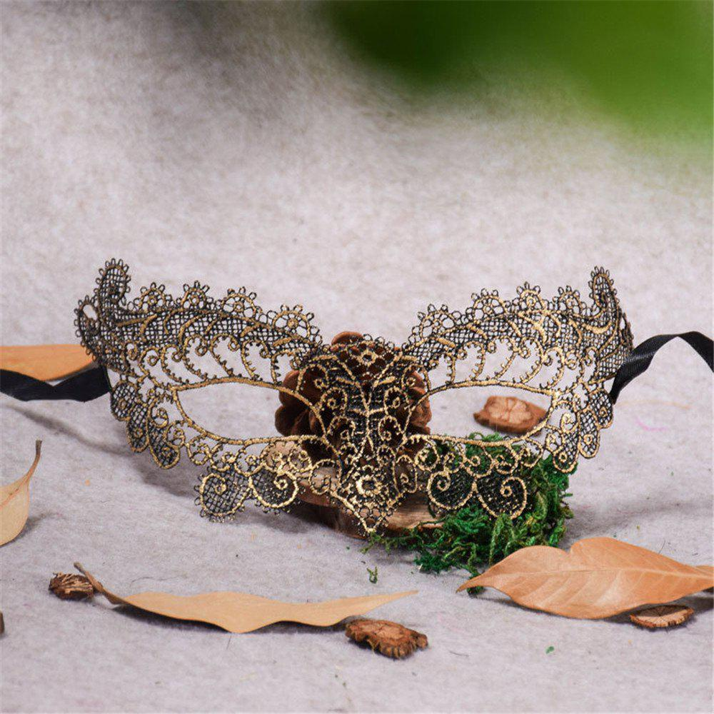 Sexy Halloween Colorful Lace Goggles Nightclub Fashion Queen Female Sex Eye Masks for Masquerade Party Ball Mask - GOLDEN