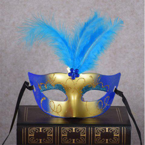 New Party Masquerade Masks Halloween Christmas Feather Mask Fashion Women Sexy Half Face Masked - BLUE
