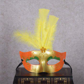 New Party Masquerade Masks Halloween Christmas Feather Mask Fashion Women Sexy Half Face Masked - YELLOW YELLOW