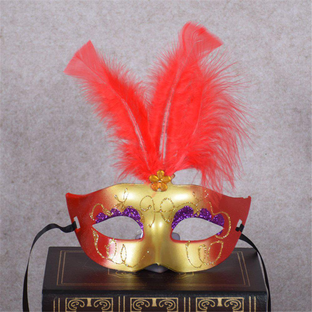 New Party Masquerade Masks Halloween Christmas Feather Mask Fashion Women Sexy Half Face Masked - RED