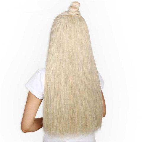 CHICSHE HAIR 23 inch Long Straight Women Clip in Hair Extensions Black Brown High Tempreture Synthetic Hairpiece - 1