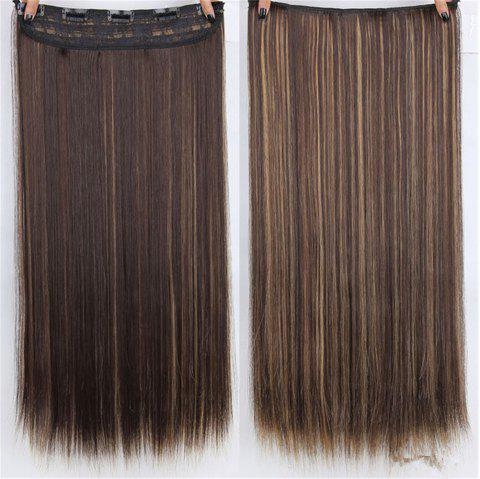 CHICSHE HAIR 23 inch Long Straight Women Clip in Hair Extensions Black Brown High Tempreture Synthetic Hairpiece - 2