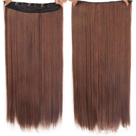 CHICSHE HAIR 23 inch Long Straight Women Clip in Hair Extensions Black Brown High Tempreture Synthetic Hairpiece - 3