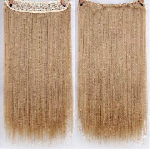 CHICSHE HAIR 23 inch Long Straight Women Clip in Hair Extensions Black Brown High Tempreture Synthetic Hairpiece - 13