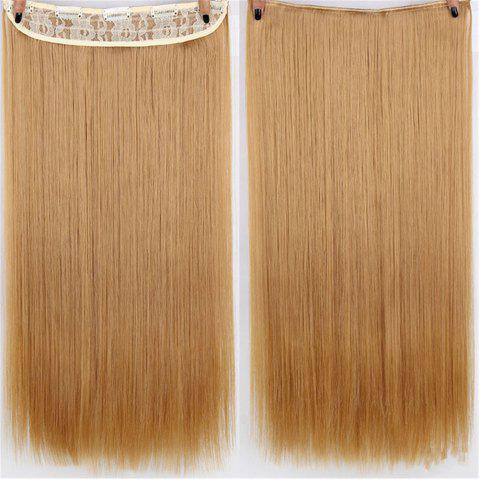 CHICSHE HAIR 23 inch Long Straight Women Clip in Hair Extensions Black Brown High Tempreture Synthetic Hairpiece - 15