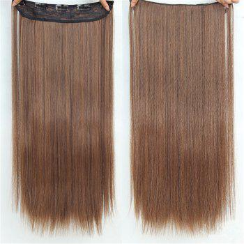 CHICSHE HAIR 23 inch Long Straight Women Clip in Hair Extensions Black Brown High Tempreture Synthetic Hairpiece - 4