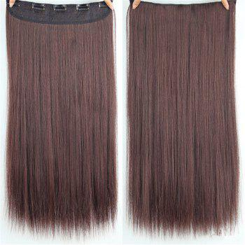 CHICSHE HAIR 23 inch Long Straight Women Clip in Hair Extensions Black Brown High Tempreture Synthetic Hairpiece - 5