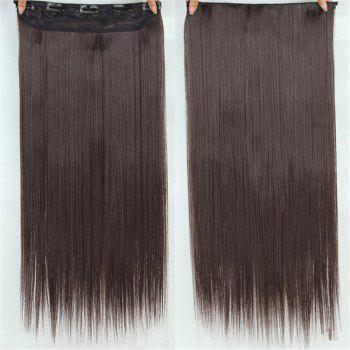 CHICSHE HAIR 23 inch Long Straight Women Clip in Hair Extensions Black Brown High Tempreture Synthetic Hairpiece - 8
