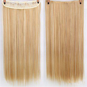 CHICSHE HAIR 23 inch Long Straight Women Clip in Hair Extensions Black Brown High Tempreture Synthetic Hairpiece - 12#