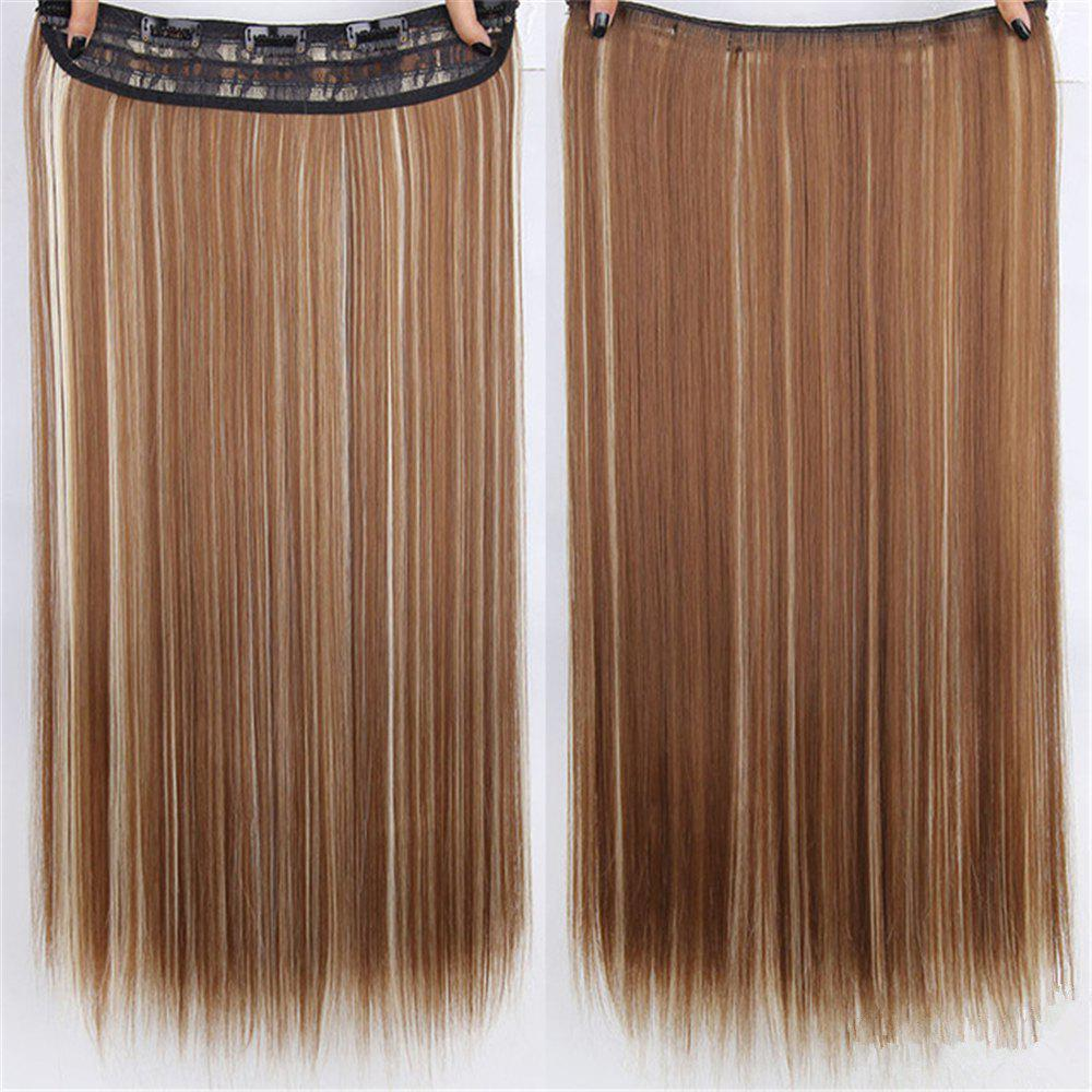 CHICSHE HAIR 23 inch Long Straight Women Clip in Hair Extensions Black Brown High Tempreture Synthetic Hairpiece -