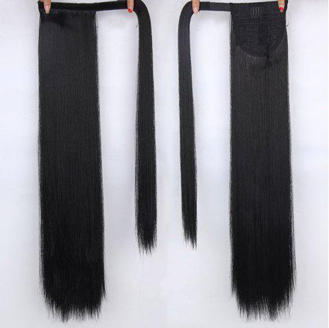 CHICSHE 16 Colors Available High Temperature Fiber Synthetic Hair Wraparound Ponytail Extensions for Women - 1B
