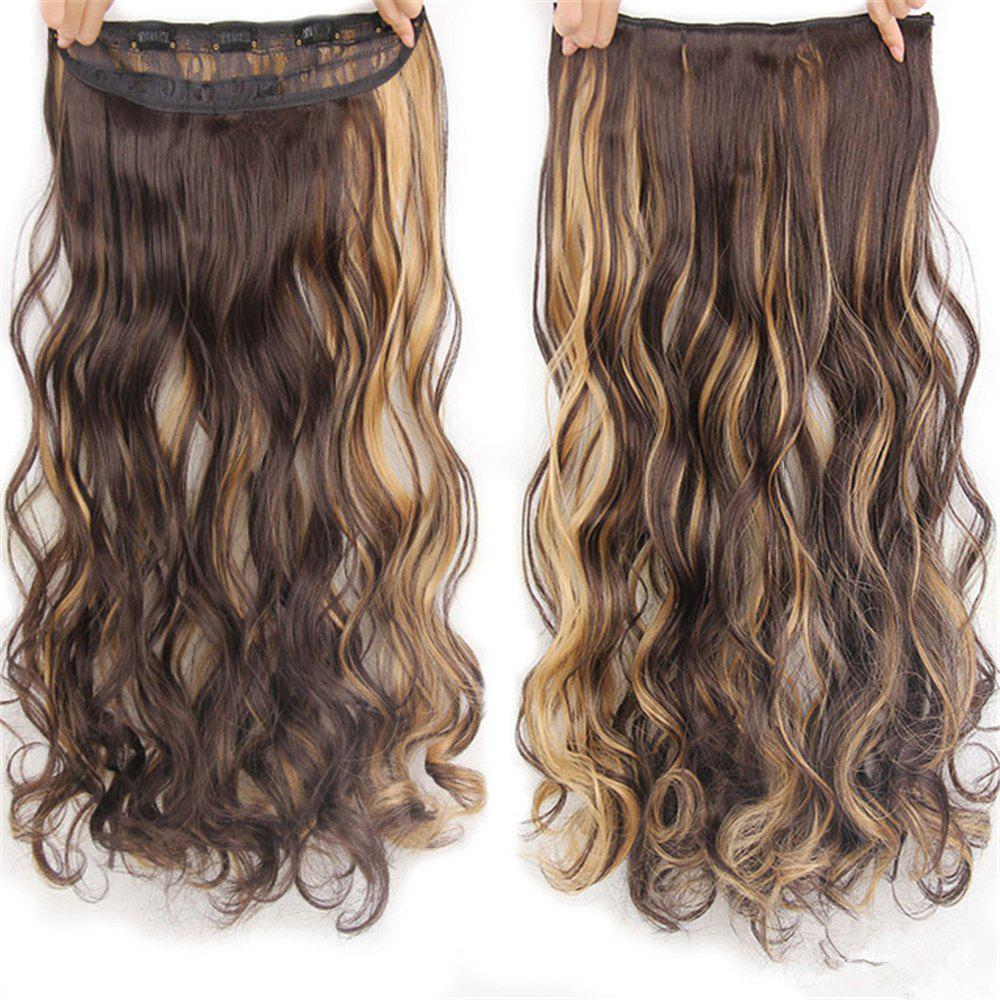 CHICSHE 17 Colors Long Wavy High Temperature Fiber Synthetic Clip in Hair Extensions for Women - H