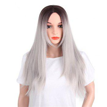 CHICSHE Synthetic Ombre Red Wigs Long Straight Cosplay Grey Hair Free Shipping - 1