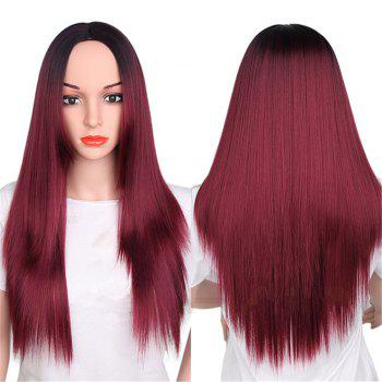 CHICSHE Synthetic Ombre Red Wigs Long Straight Cosplay Grey Hair Free Shipping - 2