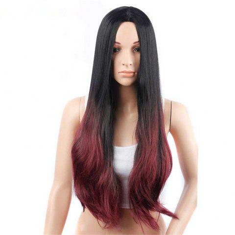 CHICSHE Synehetic Long Ombre Wigs for Women Wavy Black Brown Hair - 1