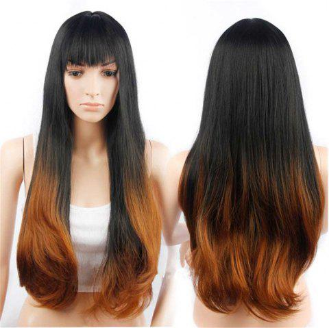 CHICSHE Synehetic Long Ombre Wigs for Women Wavy Black Brown Hair - 5