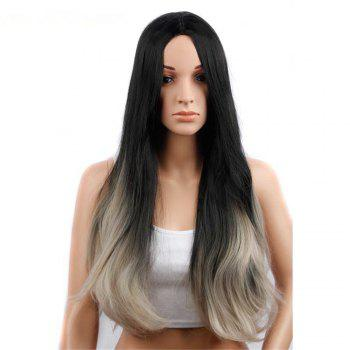 CHICSHE Synehetic Long Ombre Wigs for Women Wavy Black Brown Hair - 2