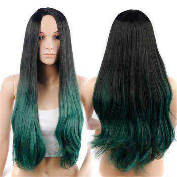 CHICSHE Synehetic Long Ombre Wigs for Women Wavy Black Brown Hair - 3