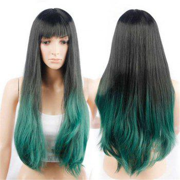 CHICSHE Synehetic Long Ombre Wigs for Women Wavy Black Brown Hair - 4